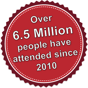 Over 3 million people have attended since 2010