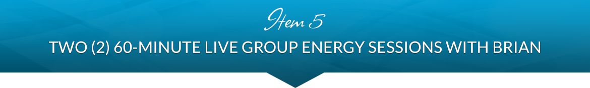 Item 5: Two (2) 60-Minute Live Group Energy Sessions with Brian