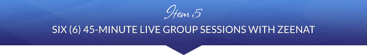Item 5: Six (6) 45-Minute Live Group Sessions with Zeenat